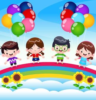 Группа детей, стоящих на радуге