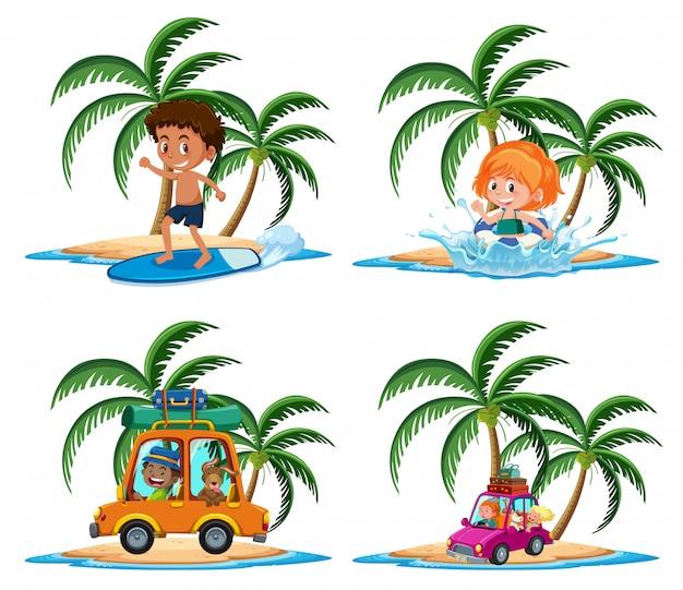 白い背景の上の熱帯の島の漫画のキャラクターの子供の休暇活動のグループ