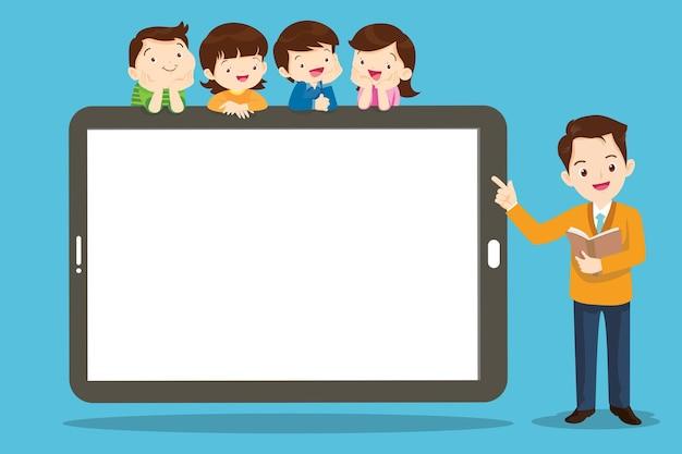 태블릿 컴퓨터에서 온라인 교사 수업을 보고 있는 아이들의 그룹