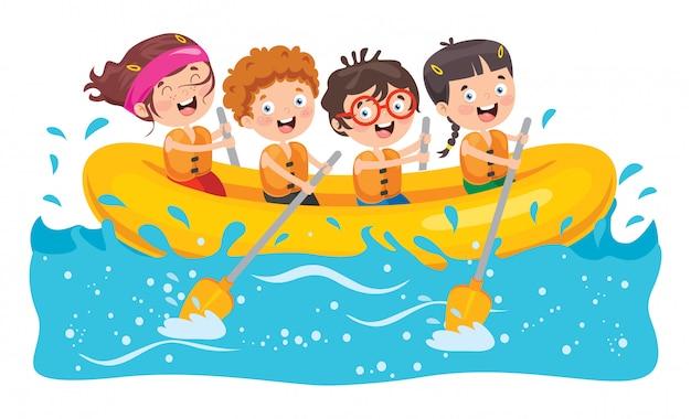 Группа маленьких детей рафтинг