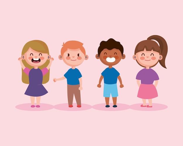 小さな子供たちのキャラクターのイラストデザインのグループ