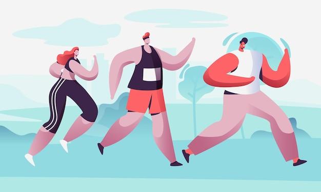 원시에서 마라톤 거리를 달리는 남성과 여성 캐릭터의 그룹. 스포츠 조깅 대회. 만화 평면 그림
