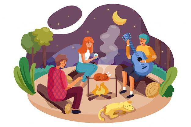 남자와 여자의 그룹 캠핑 피크닉과 바베큐를 즐길 수