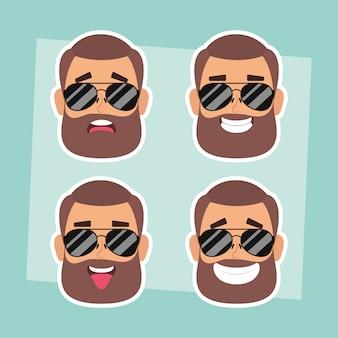 ひげとサングラスベクトルイラストデザインで男の顔のグループ