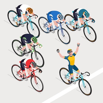ロード自転車レースの男性サイクリストのグループが優勝自転車レースを獲得しました