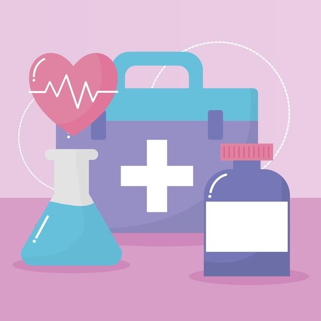 핑크 일러스트 디자인을 통해 의료 아이콘 그룹