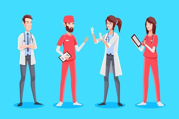 図解された医療関係者のグループ