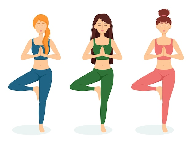 瞑想する女性のグループ。ヨガを練習している女の子、ベクトルイラスト