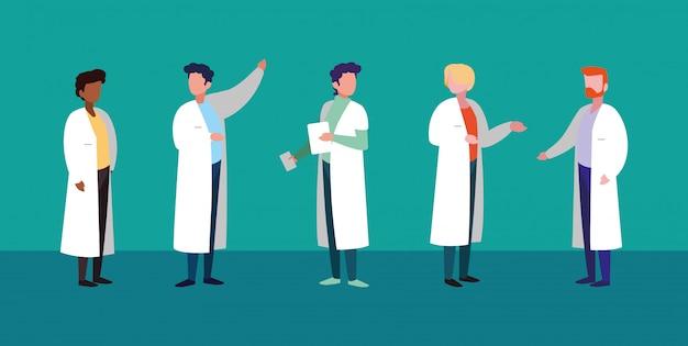 男性医師アバターキャラクターのグループ