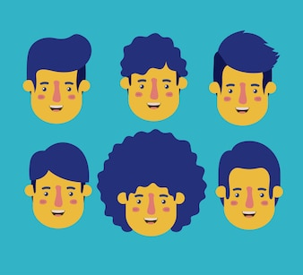 Group of men retro styles characters