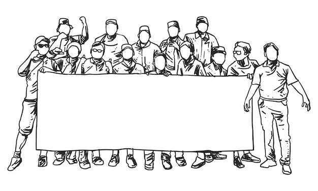 큰 배너 라인 아트를 들고 서있는 남자의 그룹