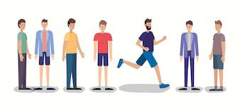 Group of men walking and running characters