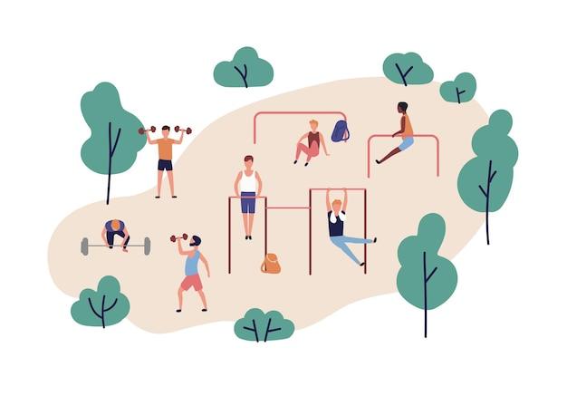 屋外で筋力トレーニングを行うダンベルとバーベルを持つ男性のグループ。パワーリフティングを実践している人々。ボディービルのトレーニング、フィットネスまたはスポーツ活動。フラット漫画ベクトルイラスト。