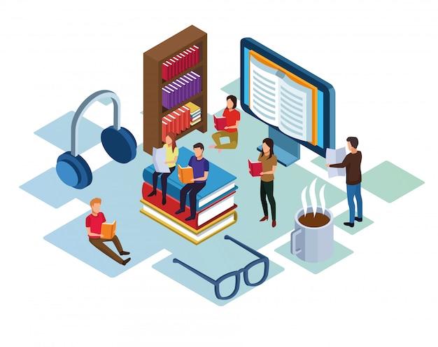 Группа мини людей, читающих книги по электронике