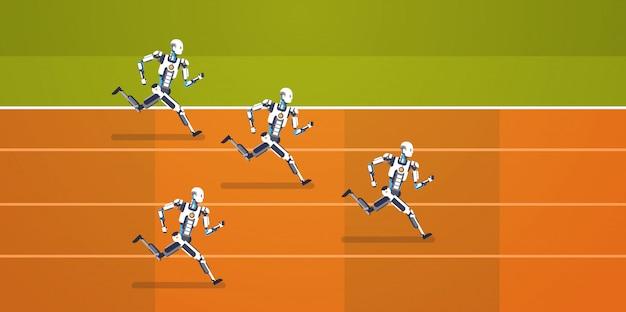 競争を実行している現代のロボットのグループ人工知能メカニズム技術コンセプト