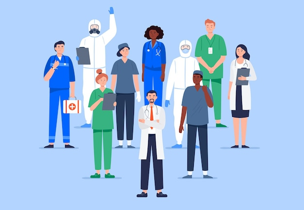 多文化医療従事者のグループ