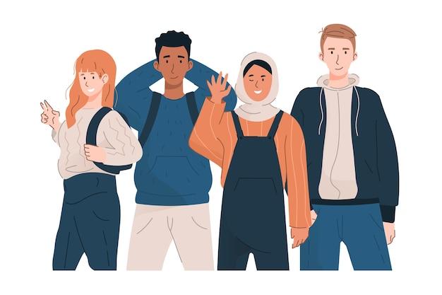 Группа мультикультурных студентов в повседневной одежде
