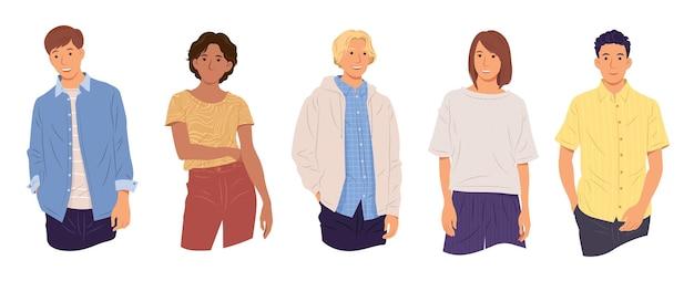 Группа мультикультурных молодых людей, стоящих вместе коллекция женских и мужских персонажей