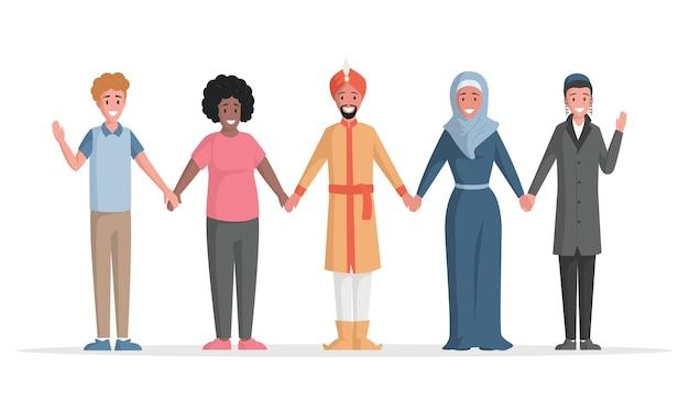 Группа многоэтнических людей вектор плоской иллюстрации различных людей, стоящих