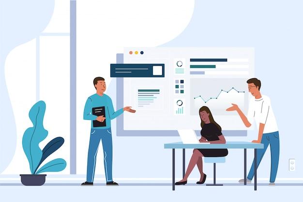 ボード上のデータを分析し、一緒にオフィスでプロジェクトに取り組んでいる間にラップトップを使用する多民族の同僚のグループ