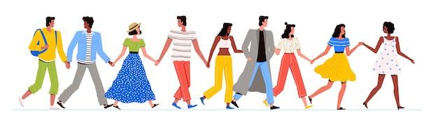 다민족 사람들의 그룹이 함께 걷고있다