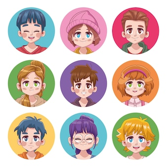 Группа из девяти симпатичных подростков манга аниме персонажи иллюстрации