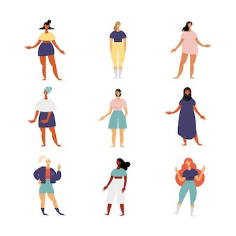 異なるドレスのイラストと9人の女性キャラクターのグループ