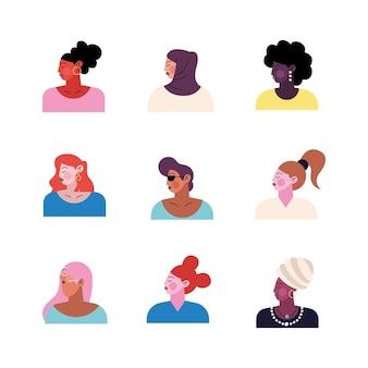 Группа из девяти молодых женщин персонажей иллюстрации