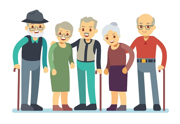 노인 만화 캐릭터의 그룹입니다. 행복 한 노인 친구 벡터 일러스트 레이 션