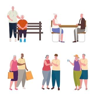 Группа пожилых людей, занимающихся разными видами деятельности