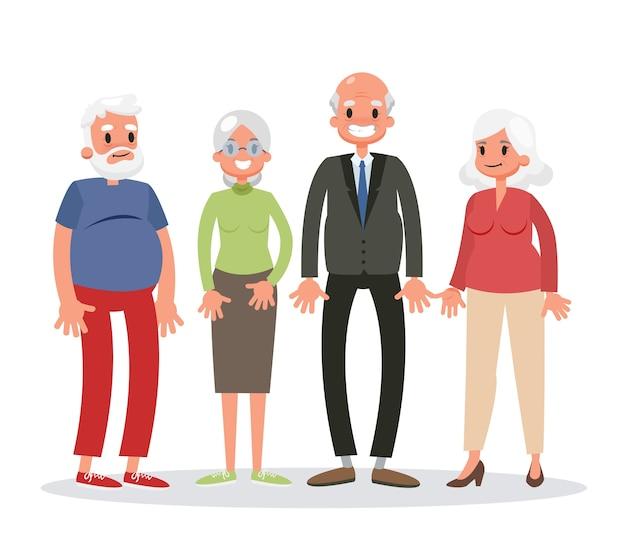 立っている老人のグループ。年配の男性と女性