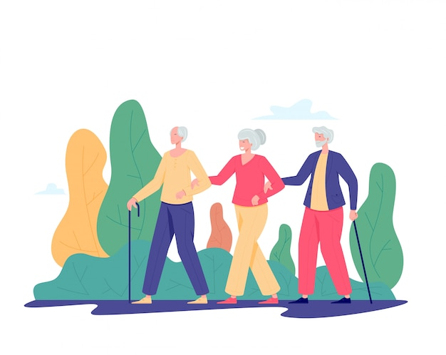 屋外を歩く老人のグループ