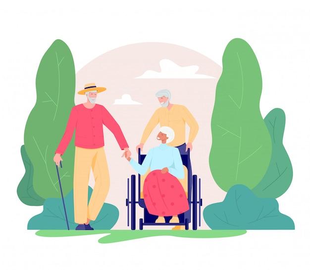 Группа пожилых людей, идущих на открытом воздухе