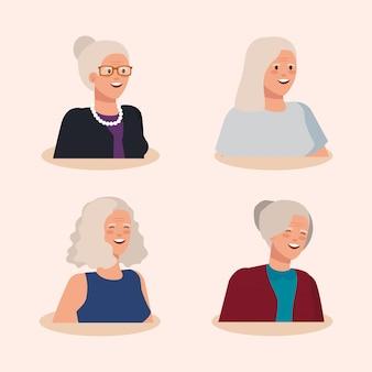 늙은 여자 아바타 캐릭터의 그룹