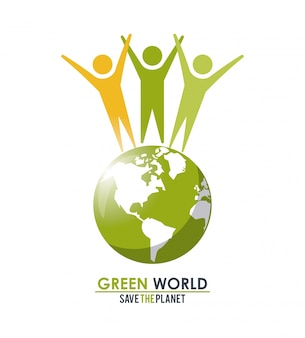 Группа людей вокруг концепции зеленого глобуса спасает планету