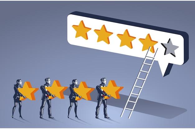 Группа людей несет звезду для оценки концепции синего воротничка