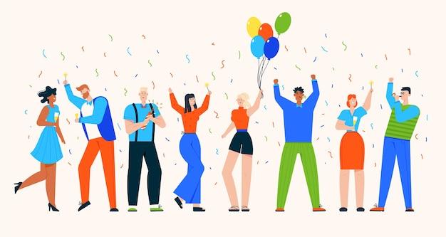 人々のグループはパーティーで休日を祝う