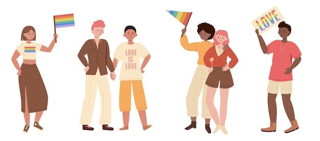Группа людей отмечает месяц прайда лгбт. гомосексуальные пары, геи и лесбиянки с флагами