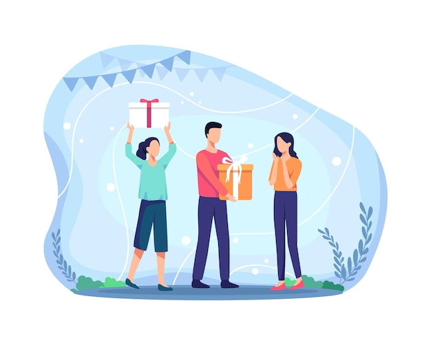 생일 파티를 축하하는 사람들의 그룹입니다. 행복한 사람들은 선물 상자를 받습니다. 선물을 들고 있는 여성과 남성, 생일 축하 컨셉입니다. 평면 스타일의 벡터 일러스트 레이 션