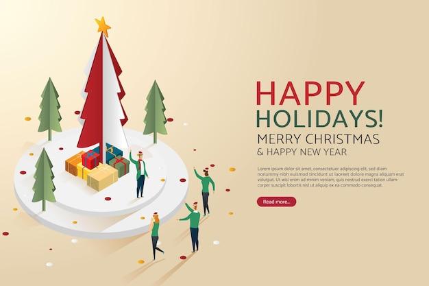 クリスマスの日とギフトボックスのクリスマスツリーを祝う人々のグループ
