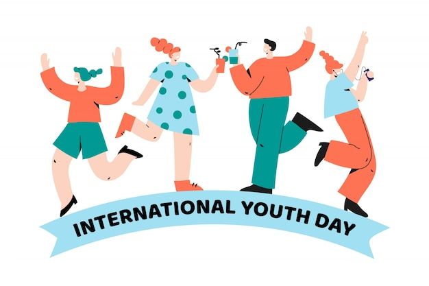 Группа людей вместе празднуют день молодежи