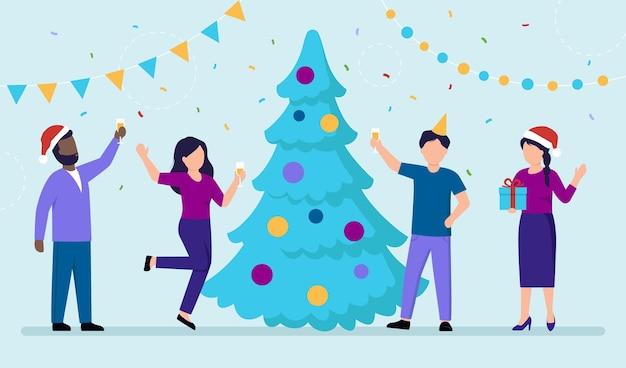 Winer 휴일을 축 하하는 사람들의 그룹입니다. 새 해의 이브 또는 크리스마스 개념 벡터 일러스트 플랫 만화 스타일에.