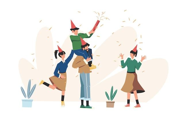 축 하하는 사람들의 그룹