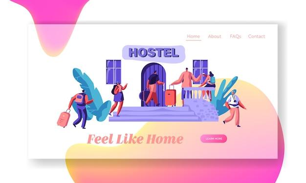 그룹 캐릭터가 호스텔 아파트 랜딩 페이지에 도착합니다. 예산 여행 숙박 개념 웹 사이트 또는 웹 페이지. 홀리데이 플랫 만화 벡터 일러스트 레이션을위한 임대 호텔
