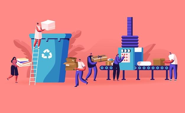 도시 거주자의 그룹은 쓰레기를 버리고 쓰레기통을 종이 쓰레기로 재활용합니다. 만화 평면 그림