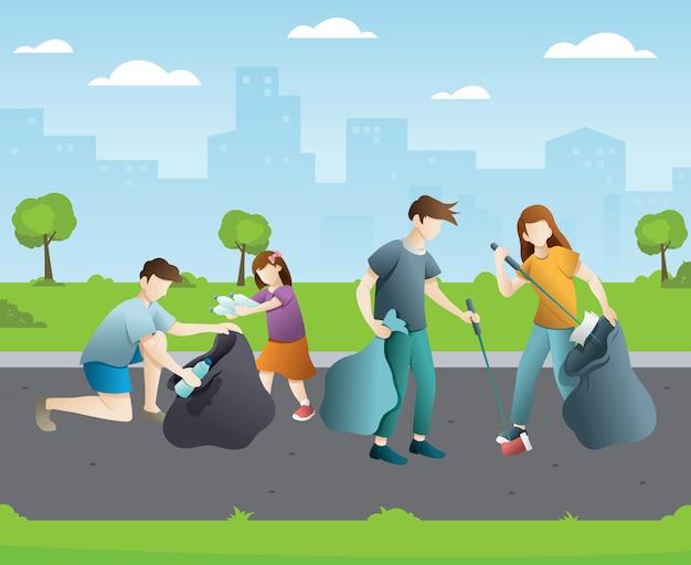 都市公園をクリーンアップする人々のグループ