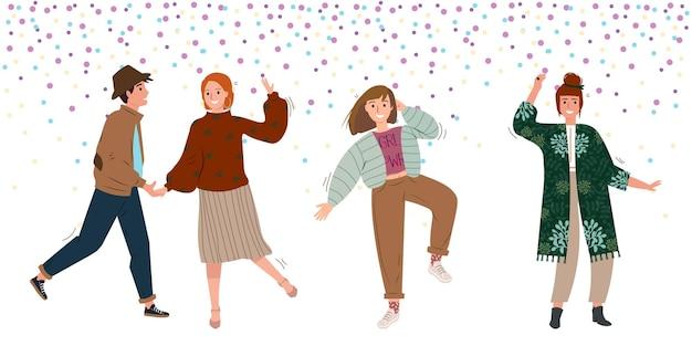 클럽이나 음악 콘서트에서 춤을 추거나 파티에서 즐거운 시간을 보내는 사람들의 그룹 평면 벡터 일러스트 레이 션