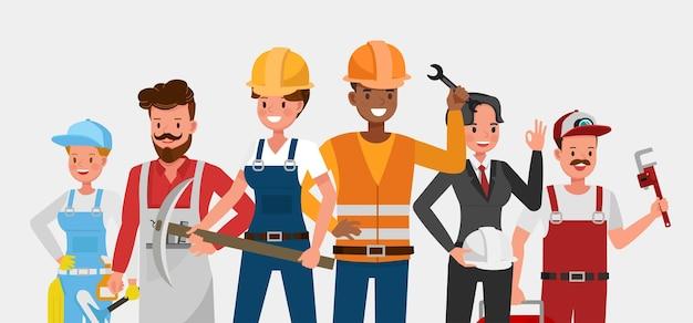 사람들의 그룹은 다른 직업과 직업 문자 벡터 디자인입니다. 노동절.