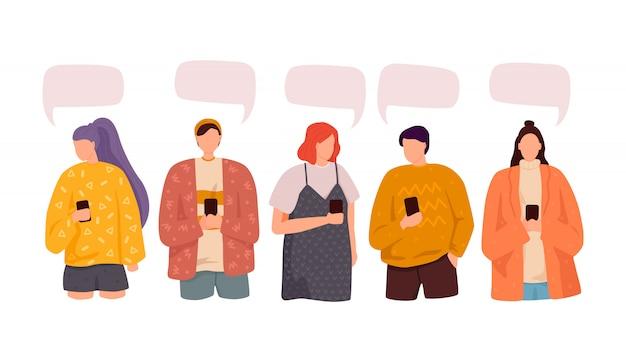 사람들의 그룹은 소셜 미디어 뉴스를 토론합니다. 일러스트, 평면 스타일, 대화 연설 거품