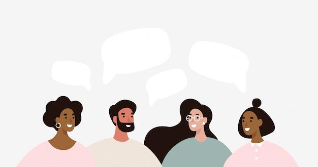 Группа людей обсуждает новости социальных сетей